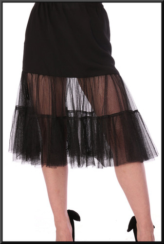 Elasticated waist plain panel upper skirt with net flairs below – black, size 8 / 10 - Illustrated with cat no 208
