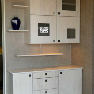 meuble bas contemporain avec partie haute et étagères