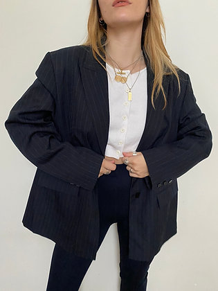 oversized stripe blazer in navy