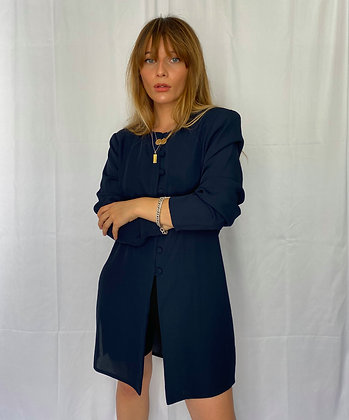 long sleeve top with shoulder pads and side slit detail in navy