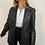 Thumbnail: oversized soft 100% leather blazer in black