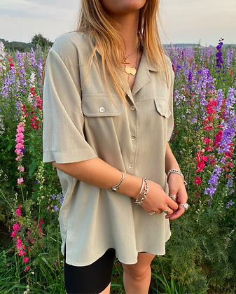 oversized crepe shirt in sage