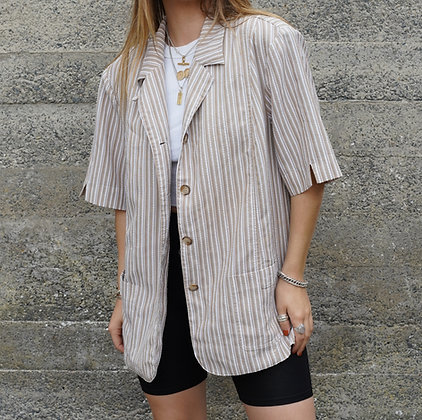 oversized shirt in beige and white stripe