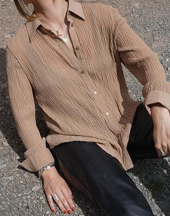 plisse shirt in camel