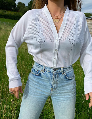 embroidered cardigan in white