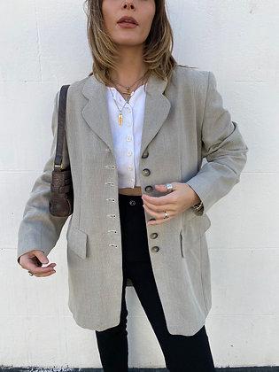blazer in beige/black with button detailing