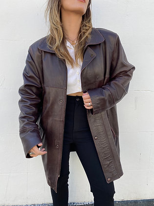 oversized 100% soft leather jacket in burgundy with quilted lining