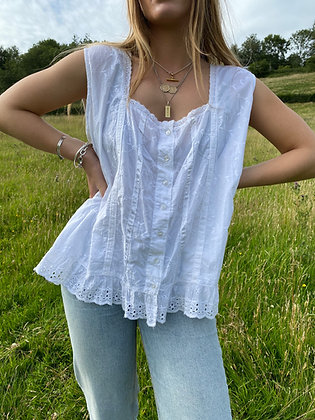 broderie sleeveless top in white
