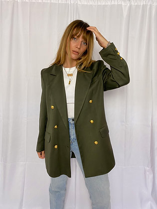 double breasted blazer in khaki with gold buttons