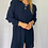 Thumbnail: long sleeve top with shoulder pads and side slit detail in navy