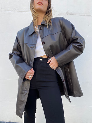 100% soft leather jacket in chocolate