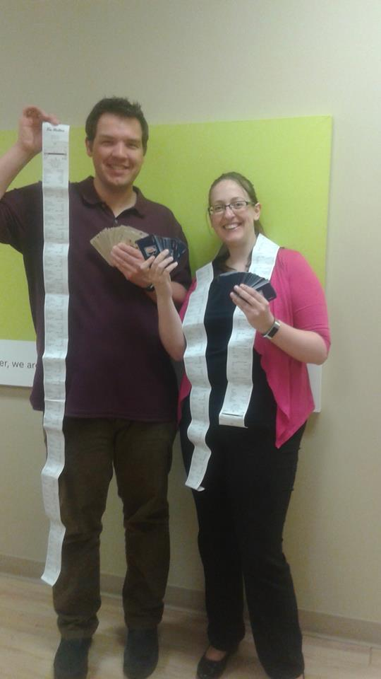 Kristen and Dave donating Tim Hortons cards