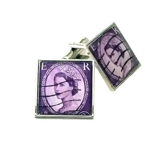 Wilding 3d QEII Purple Stamp Cufflinks