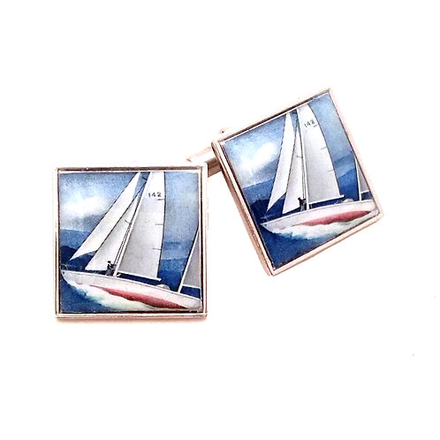 Gipsy Moth IV British Stamp Cufflinks