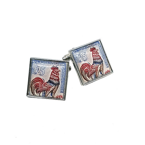 Le Coq Galois, French Cockerel Stamp Cufflinks 1962