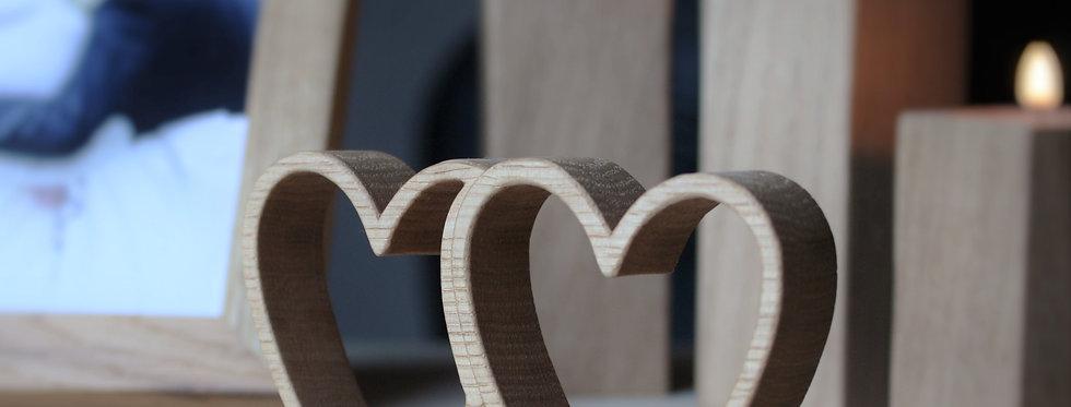 Hearts in solid oak