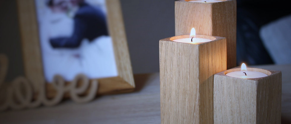 Oak Candle Holders - Set of 3