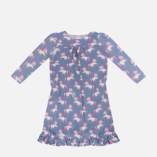 Wholesales Printed Bamboo Children Girls Long Sleeve Dresses with Frill .jpg