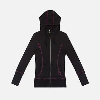 Wholesales Women Bamboo Yoga Wear of Zip Active Jacket with Hoody .jpg