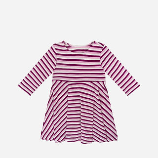 Wholesales Organic Bamboo Baby Girls Striped One Piece Frill Dress.jpg