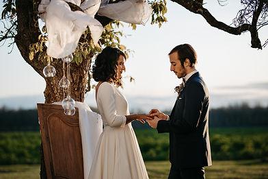 la ceremonie de mariage dans le parc