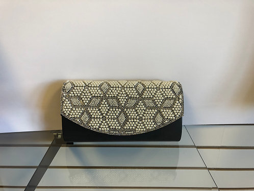 Black purse with pearl and rhinestone geometric pattern