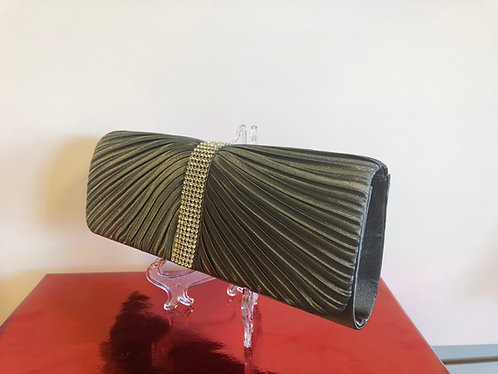 Charcoal Satin ribbed clutch with rhinestone accent