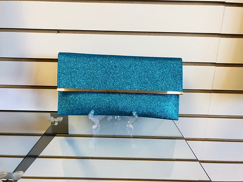 Sparkly Aqua clutch with silver trim