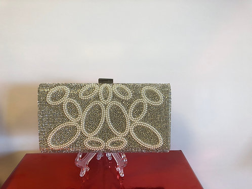 Silver Clutch with rhinestones and oval pearl design