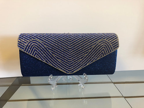 Sparkly royal blue clutch with rhinestone accent