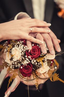 Bride & Groom touching hands