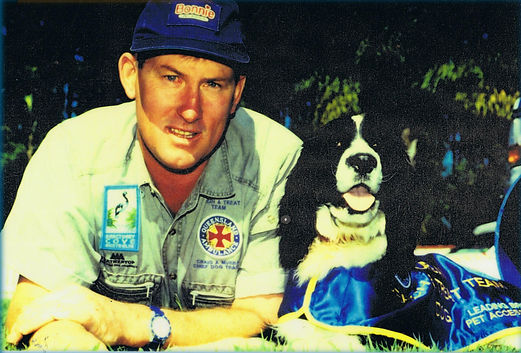 Craig with Cinder - Disaster Dog