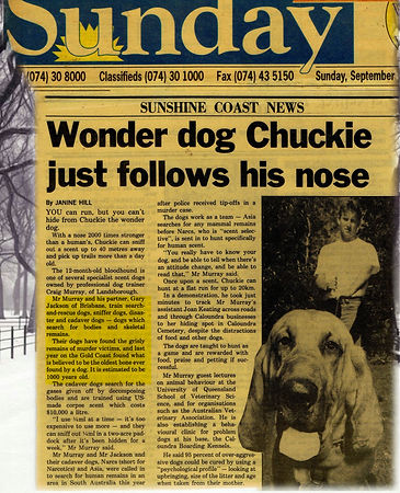 Craig A. Murray with Chuckie, Man Trailing Bloodhound