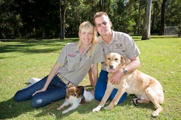 Craig and Tracey Murray with their working dogs