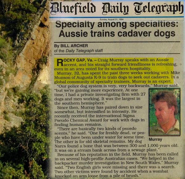 Aussie Trains Cadaver Dog