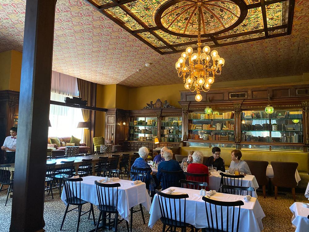 Gryphon tea room historic drugstore bookshelves savannah georgia unique tea