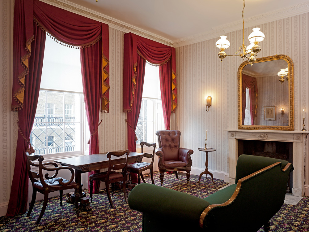 Charles Dickens London home and museum Dickens Museum drawing room Dickens chair