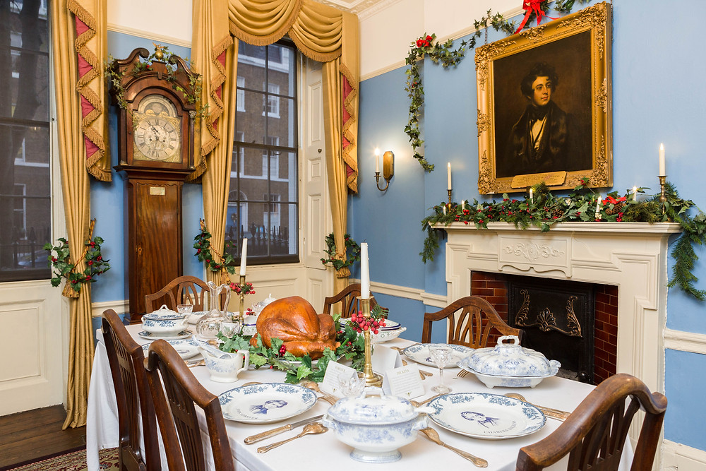 Dickens Home Dickens Museum at Christmas decorations