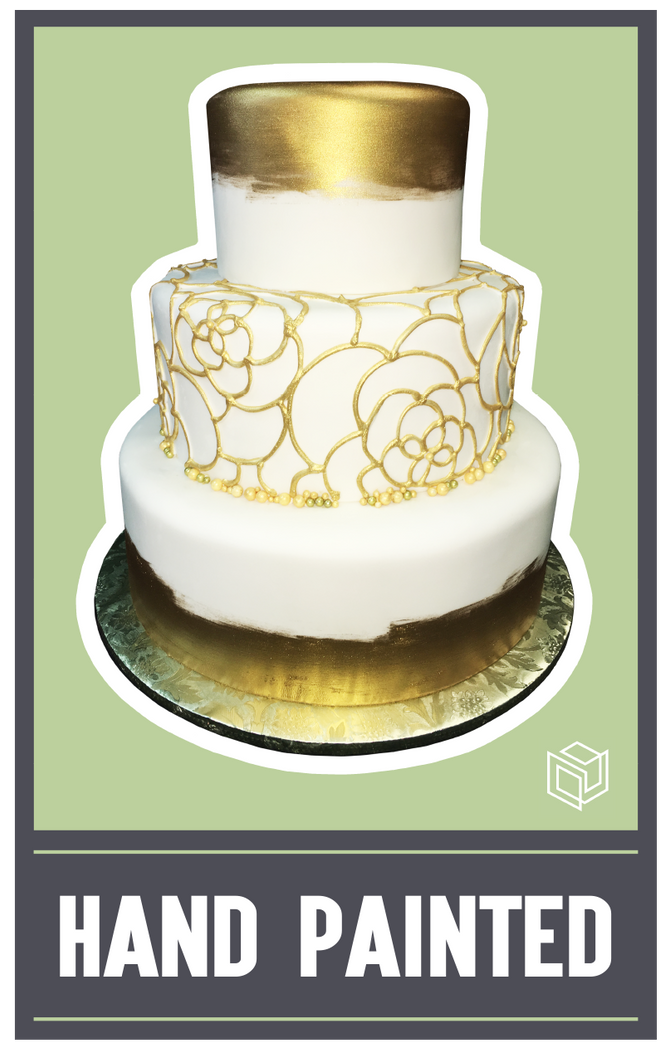 Golden Hand Painted and Piped Wedding Cake!