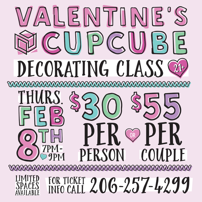 Cubes cupCube Decorating Class + Wine Night - February 8th!