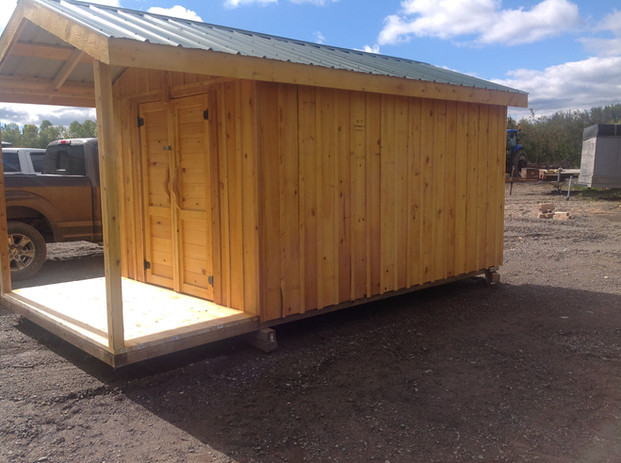 Garden Shed Side View with Deck