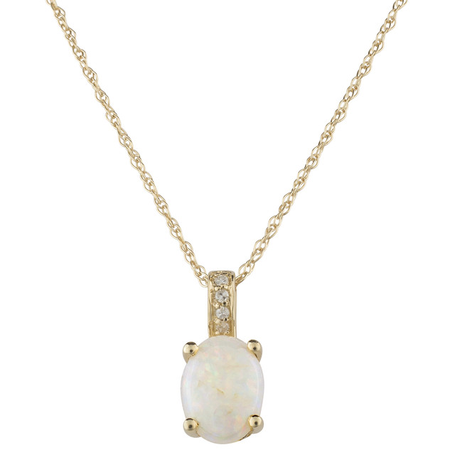 October: Yellow Gold Oval Opal and Diamond Pendant