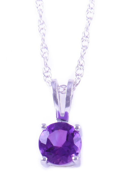 February: White Gold Round Amethyst Pendant