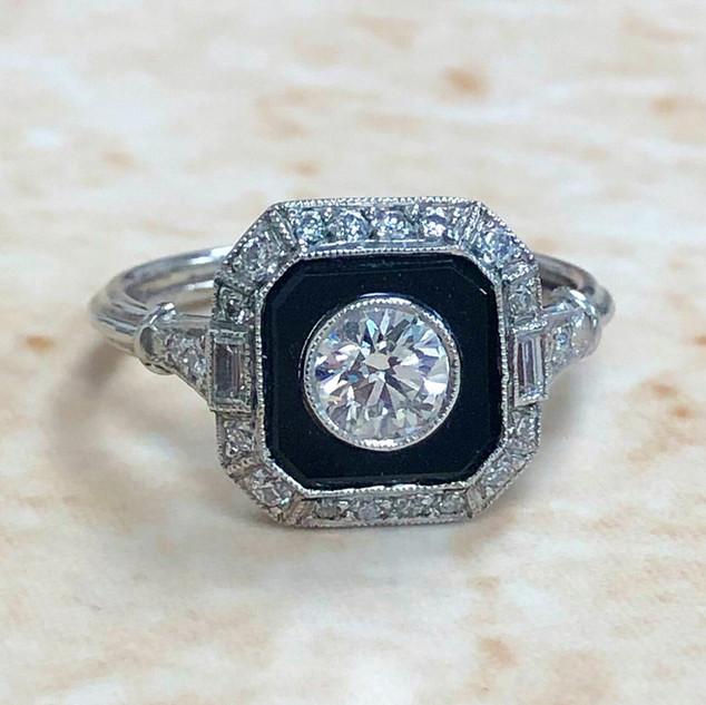 Onyx and Diamond Engagement Ring