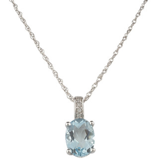 March: White Gold Oval Aquamarine and Diamond Pendant
