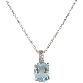 March: White Gold Oval Aquamarine and Diamond Pendant