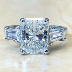 Custom-Made 3.20 Carats Radiant Diamond Engagement Ring