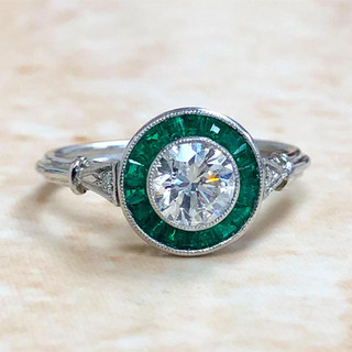 Platinum Diamond And Emerald Engagement Ring