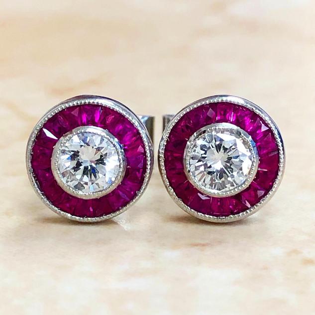 0.60 CT Diamond Studs With Ruby Halo