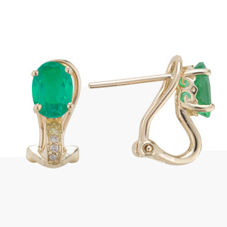May: Yellow Gold Oval Emerald and Diamond Earrings